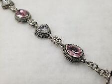 pink gemstone toggle bracelet Cookie Lee silver and