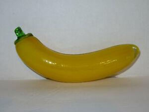 Vintage Glass Yellow Banana Murano Style Glass Fruit Paperweight Decor