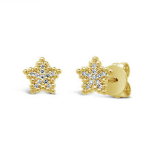 0.05 CT 14K Yellow Gold Natural Round Diamond Spangle Star Beaded Stud Earrings