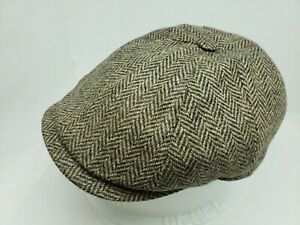 BORSALINO DORIA BROWN HARRINGBONE WOOL NEWSBOY CAP MADE IN ITALY (  FLAT GOLF )