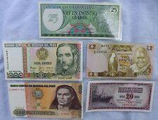 5 Laminated Currency Paper Money Bills Bookmarks  Peru Zambia Suriname