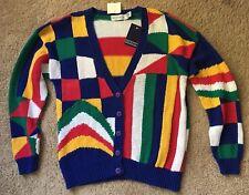 New Vtg 80s/90s Fresh Prince Multicolor Geometric V-Neck Cardigan Sweater, Large