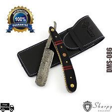 New Damascus Steel Straight Razor Cut Throat Barber Salon Shaving & Free Pouch