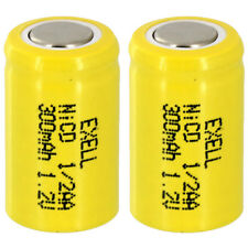 2x Exell 1/2AA NiCD 300mAh 1.2V Flat top Rechargeable Battery