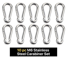 10 pc M6 Stainless Steel Carabiner Snap Hook (Camping, Spring Clip, Hiking)