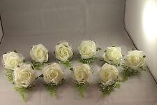 WEDDING BUTTONHOLES  x 10  IVORY NETTING & BEADING** VERY ELEGANT**