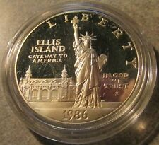 1986-S Ellis Island Statue of Liberty 90% Proof Silver Dollar $1 Coin
