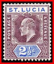 ST.LUCIA 1902 KEVII SC#46 MLH gum CREASE & pencil CV$35.00   (E-B5)