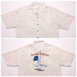 TOMMY BAHAMA Short Sleeve Embroidered Camp Shirt Ivory Downwind to Paradise XL