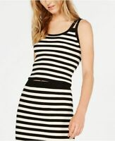 Michael Kors Womens XL Black White Stripe Strappy Tank Top Knit Stretch