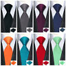 Classic Men's Tie Solid Plain Blue Red Grey Burgundy Black 100% Silk Necktie Set