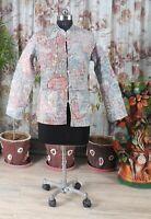 Women Kantha Quilted Jacket Grey Paisley Handmade Cotton Blazer Casual Wear Coat