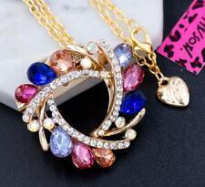 Pendant Necklace Chain Brooch Betsey Johnson Alloy Rhinestone Multi-Color