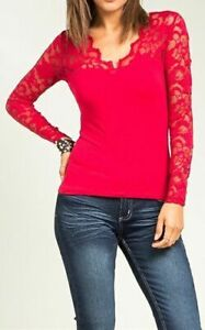 Sexy Red V-Neck Scallop Low-Cut Lace Long Sleeve Plus Size Blouse Top 1X