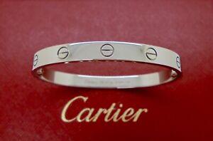 Authentic Cartier Love Bracelet in 18k White Gold 17 Receipt & CoA RRP$10,600