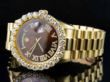 18K Mens Yellow Gold Rolex Presidential Day-Date 36MM Roman Diamond Watch 7.1 Ct