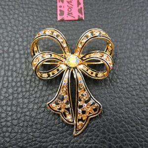New Betsey Johnson Gold Enamel Cute Shiny Bowknot Rhinestone Woman Brooch Pin