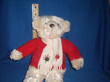 Hallmark Christmas Teddy Bear Plush Sweater Scarf Bells