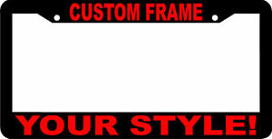 CUSTOM PERSONALIZED RED LETTERS customized vanity License Plate Frame USA
