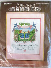 Spring counted cross stitch kit vintage Bernat American Sampler birds dancing