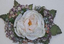 Creme 4x5 Rose Bouquet Artificial Silk Flower Head Hair Clip Craft