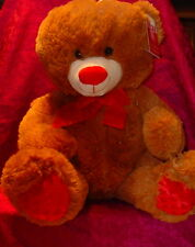 CINNAMON BEAR WITH RED NOSE ** BIG EYES ** RED BOW TIE ** CUTE ** 16 INCHES