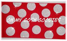 "3"" Glitter Jumbo Cheer Team Dots Red White Grosgrain Ribbon 4 Usa Hairbow Bow"