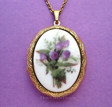 Cameo Costume Jewelry Locket Necklace Porcelain Purple Tulips/Lily of the Valley