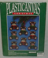 Bernat Plastic Canvas Bear Holder 8 Christmas Ornaments NEW Unopened Vtg 1992