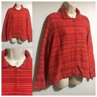 COLDWATER CREEK Women's UK 14/16 Tomato Red Cotton Jacket Shirt Top Quirky Boho
