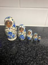 "Russian Nesting Dolls Hand Painted Wooden Doll Set 5 Pcs 3 1/2"" Tall Very Nice"