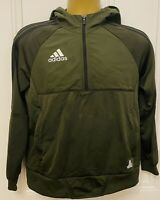 ADIDAS Boys 13-14 Years Quarter Zip Khaki Green Tracksuit Top/Hoodie
