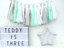 Mint, White, Silver & Grey Tassel Garland. First Birthday, Christening, Kids