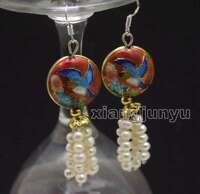 4-5mm White Round Natural Pearl with 18mm Red Cloisonne Dangle earring-ear586