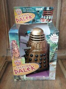 "PRODUCT ENTERPRISE DR WHO 7"" TALKING DALEK RARE COMMAND GOLD/BLACK 2001 BOXED"
