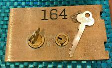 "SAFE DEPOSIT BOX DOOR LOCK! SAFETY BANK VINTAGE ONE KEY - 5 3/8"" X 3""  - #164"