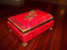 Vintage Blue Bird Confectionery Embossed Tin Box Red Gold Flower Rose