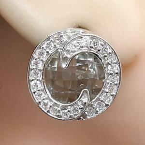 World Class 10.00ct Green Topaz & Diamond Cut White Sapphire 925 Silver Earrings