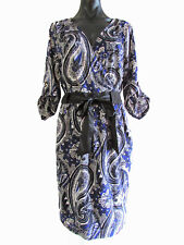 Events Sz 14 Paisley Print 3/4 Slv Cross Over Bust Dress Ribbon Sash Blue Black