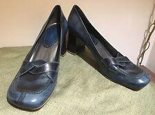 Nine West 10M Turquoise Leather Block Heel Shoe Harlin Jean look