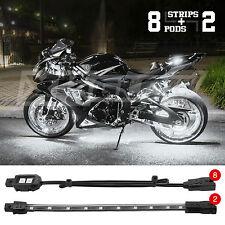 LED 8 Pod 2 Strip Motorcycle/ATV/Boat/UTV/Car Neon Accent Light Kit WHITE