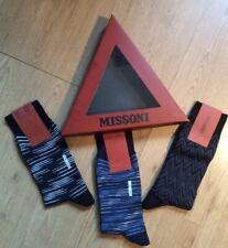 New Boxed Set Of Three Pairs Men's Missoni Socks Size Large Cotton Mix