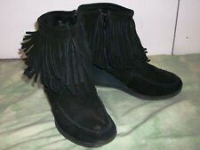 """MINNETONKA (size 8) Black Suede Ankle Boots, Moccasins, 3"""" Heel & Layered Trim"""