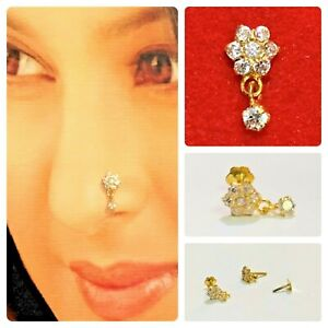 12ct Gold Nose Stud in Solid 12k carat Yellow Gold