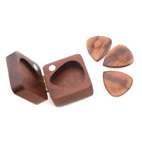 Wooden Guitar Pick Plectrum Storage Box for 4pcs Picks Hold Case Care Tool