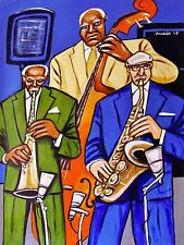 THREE JAZZ MUSICIANS PAINTING jimmy heath ira sullivan sax ray drummond bass