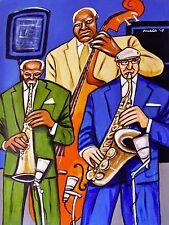 THREE JAZZ MUSICIANS PAINTING jimmy heath ira sullivan sax ray drummond bass