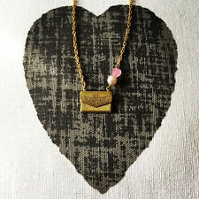 Golden Love Letter Envelope Locket Pearl and heart Charm Necklace Valentines