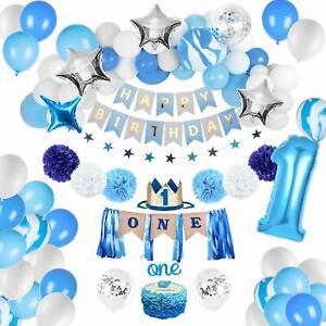 Birthday Decorations Baby Boy 1st birthday Party supplies blue decorations 67PCS