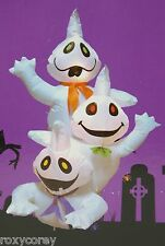 Halloween 4 ft Light Up 3 Stacked White Ghosts Airblown Inflatable NIB